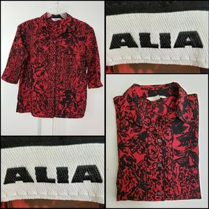Alia Woman Texture Button Front Blouse Size 16 Red